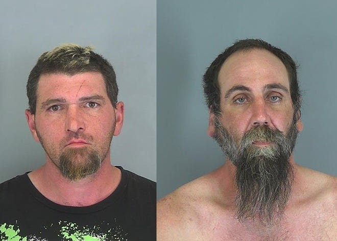 Jonathan Galligan, 39, right, and Christian Hurlburt, 41, left, were charged with the murder of two women in South Carolina.