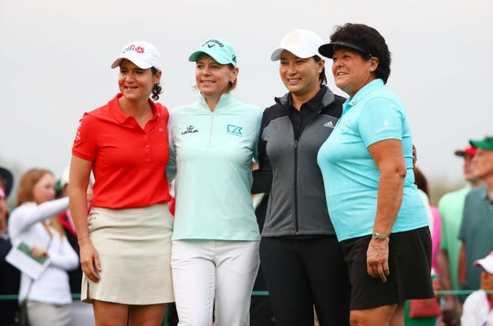 (From left to right) Hall-of-Famers and former LPGA stars Lorena Ochoa, Annika Sorenstam, Se Ri Pak and Nancy were the honorary starters for the Augusta National Women's Amateur golf tournament.