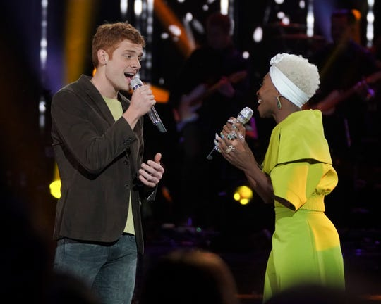 """AMERICAN IDOL - """"211 (All-Star Duets)"""" - The remaining 10 contestants of the Top 20 perform duets with all-star celebrity partners from The Wiltern in Los Angeles, as the search for America's next superstar continues on The ABC Television Network, MONDAY, APRIL 8 (8:00-10:00 p.m. EDT), streaming and on demand. Following the performances, the tension will rise as the remaining 10 contestants find out who has made the last seven spots, rounding out the Top 14 during a final elimination that will leave audiences stunned. (ABC/Eric McCandless)JEREMIAH LLOYD HARMON, CYNTHIA ERIVO"""