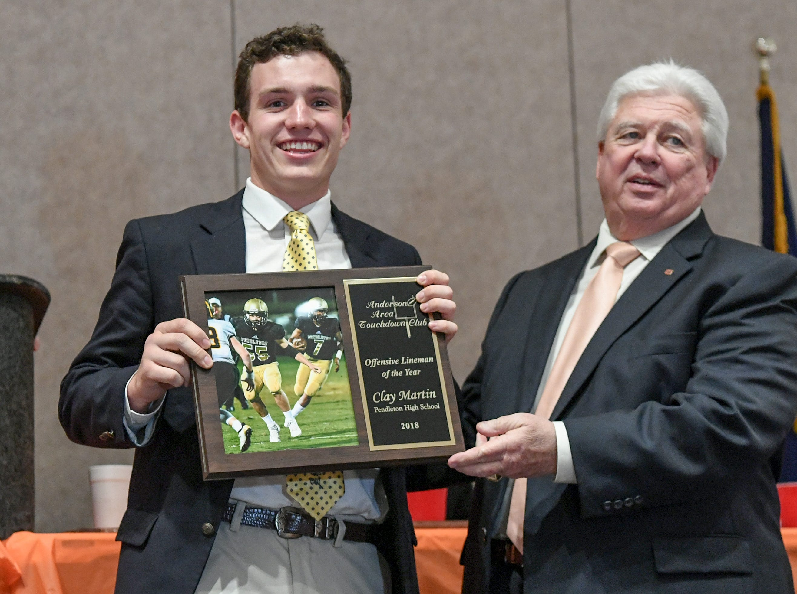 during the Anderson Area Touchdown Club Annual Awards Banquet at the Anderson County Civic Center Monday, April 8th, 2019. Awards were given to the Players of the Year and the Coach of the Year from the eight Anderson County high schools. The club honored former Belton-Honea Path player Kendall Joseph who was part of two National Championship Clemson football teams.
