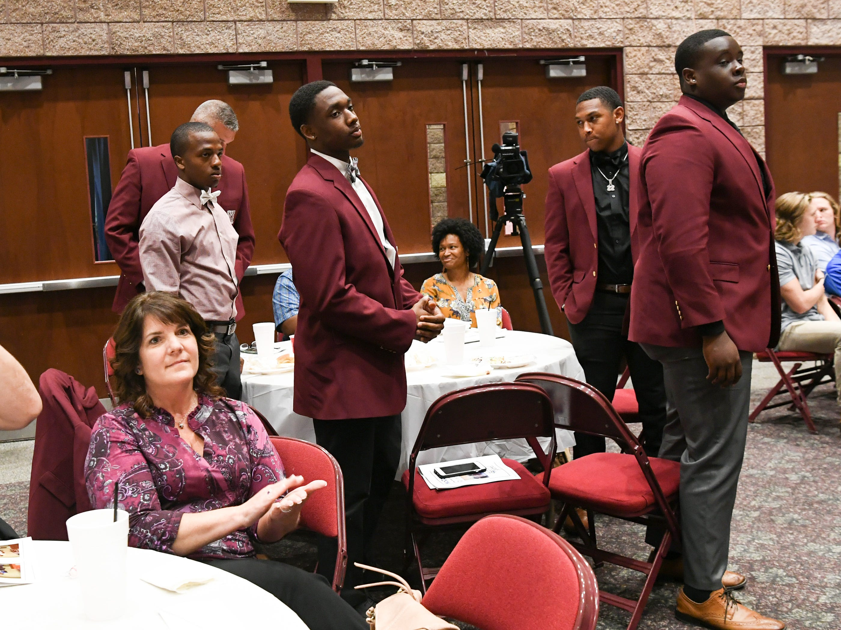 Westside High football players are recognized during the Anderson Area Touchdown Club Annual Awards Banquet at the Anderson County Civic Center Monday, April 8th, 2019. Awards were given to the Players of the Year and the Coach of the Year from the eight Anderson County high schools.