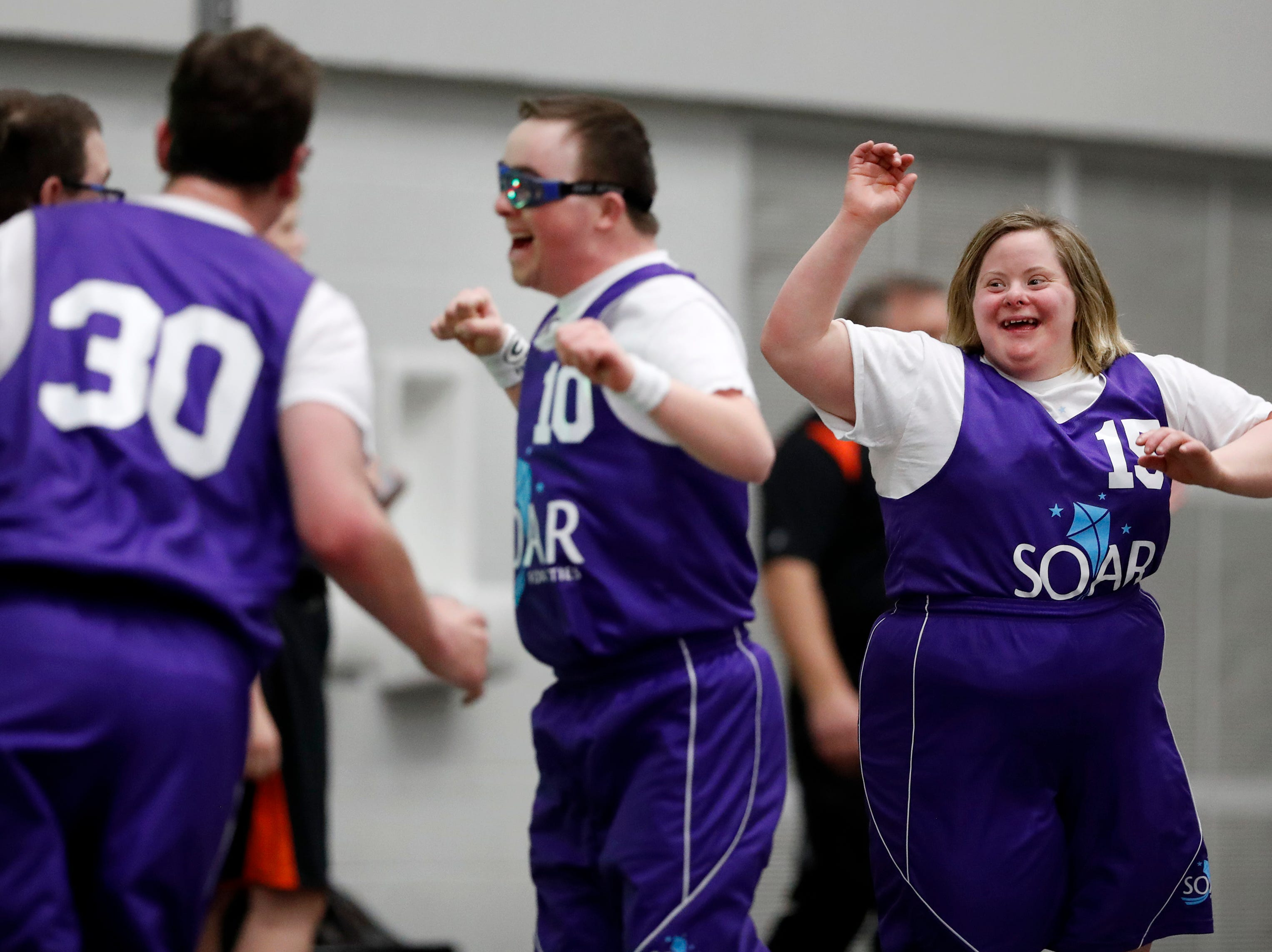 The SOAR Hawks' Kendra Catenacci celebrates their 25-24 win over the Silver Lake Blazers during the 2019 Special Olympics State Indoor Sports Tournament Saturday, April 6, 2019, at the Kolf Sports Center in Oshkosh, Wis. Danny Damiani/USA TODAY NETWORK-Wisconsin