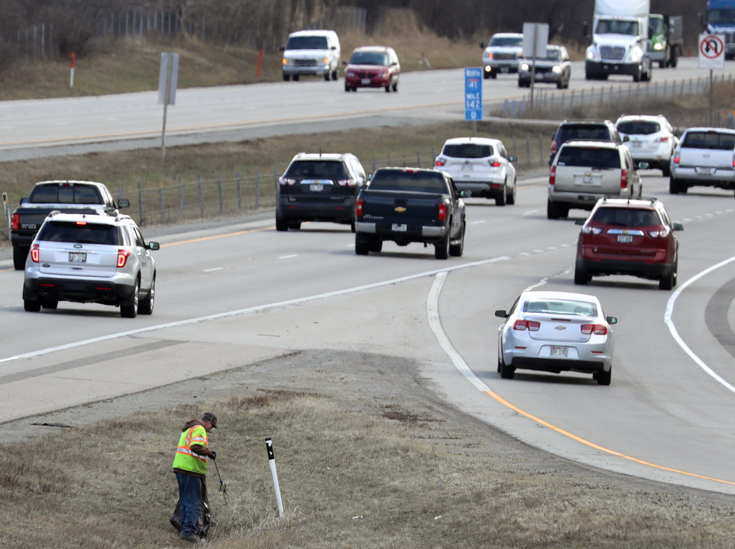 Outagamie County Highway Department picks up litter along I-41, but it ranks as a low priority