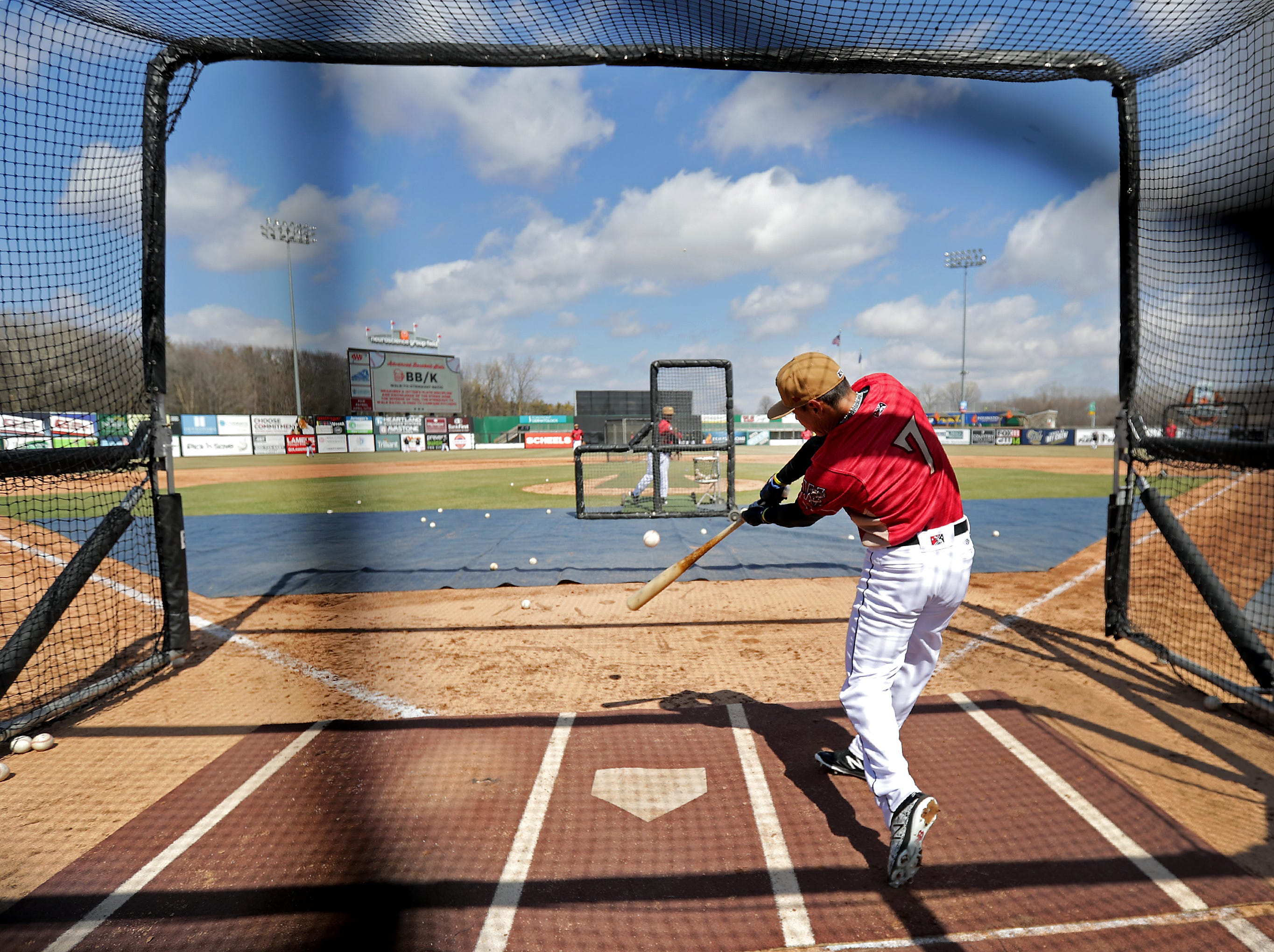 The Wisconsin Timber Rattlers' #7 Jesus Lujano takes batting practice during  Fan Fest at Neuroscience Group Field at Fox Cities Stadium on Tuesday, April 2, 2019, in Grand Chute, Wis.Wm. Glasheen/USA TODAY NETWORK-Wisconsin.