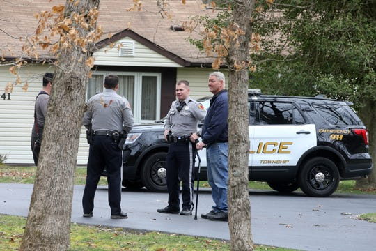 Police investigate a mortar from the Vietnam era discovered at the home of 41 Pittenger Pond Road in Freehold, NJ Tuesday, April 9, 2019.