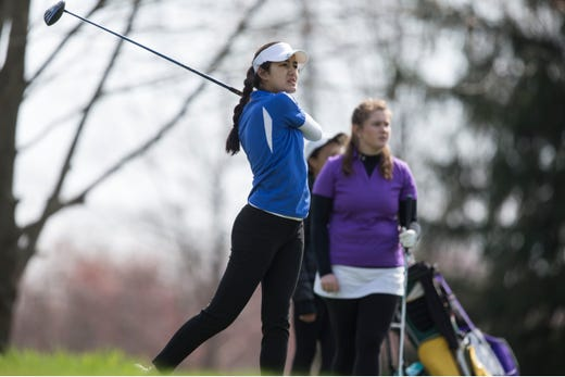 Holmdel junior Sophia Taverna  hits a drive during the 2019 Monmouth County Tournament at Cream Ridge Golf Course on Tuesday.  Taverna, the defending champion, finished second individually with an 81, while leading the Hornets to the team title with a 360 total.  Wall sophomore Jessica Brehm took the individual title with a 74, while the Crimson Knights finished second in the team race with a 393. Trinity Hall was third at 431.