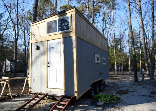 A tiny-home vacation rental under construction at Egg Harbor River Resort in Atlantic County.