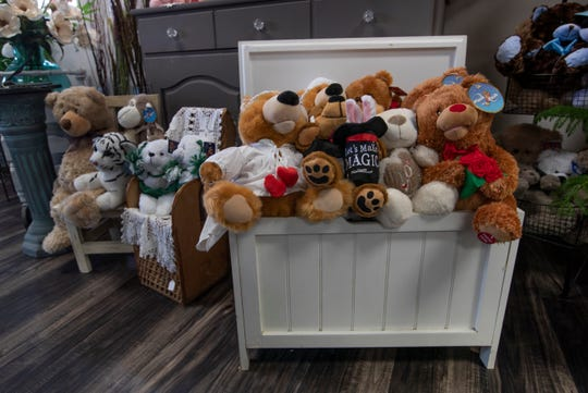 """Stuffed animals for sale. """"A Country Flower Shoppe & More,"""" a 20-year-old Colts Neck-based flower shop taken over by mother-and-daughter duo Marie and Cortney Costa in spring/summer 2018. The store is not only a florist but sells a variety of home furnishings, and decorative items including jewelry, and stuffed animals."""