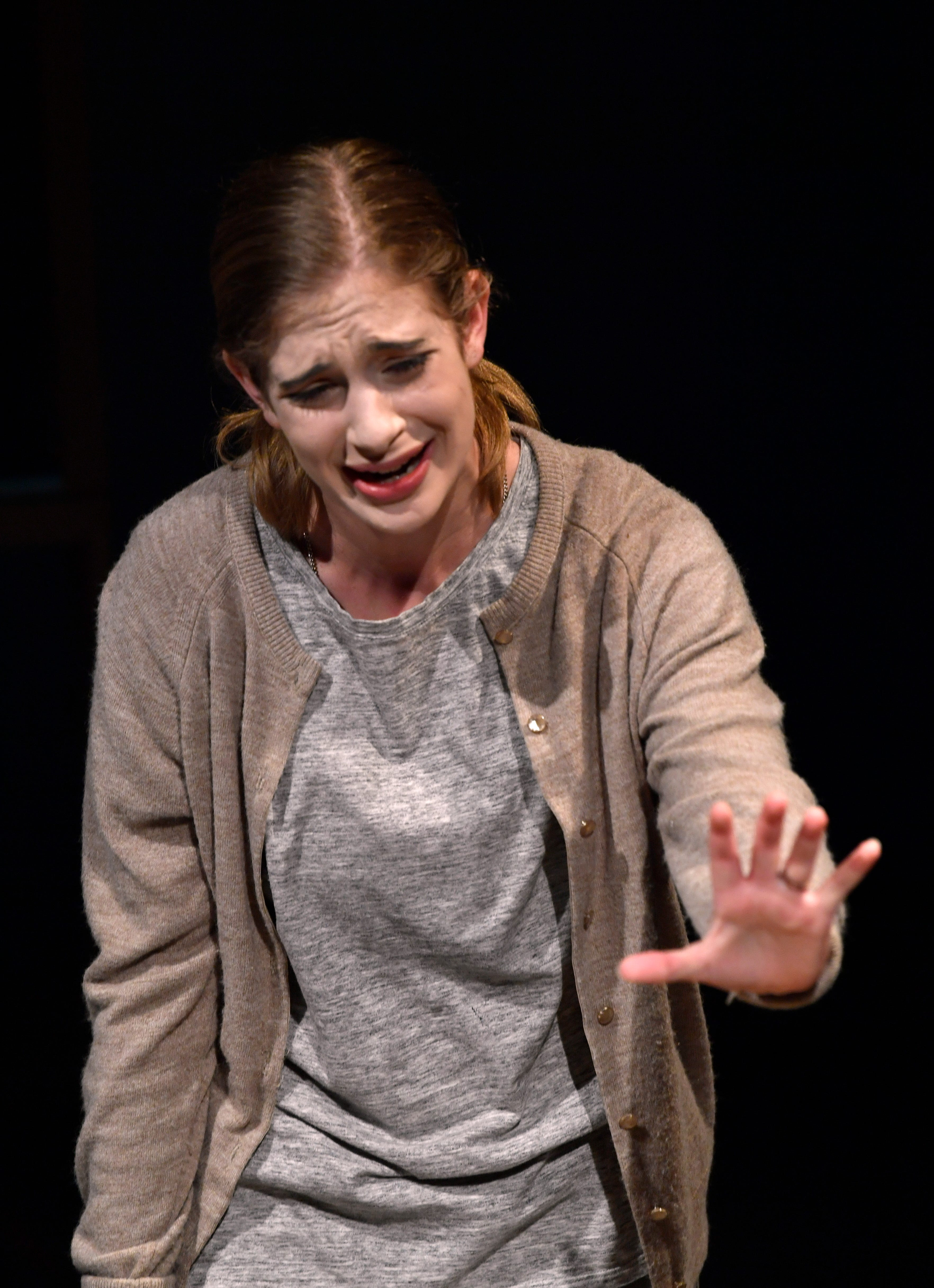 """Carol Stuckey, as played by Bethany Soder, describes her anguish as the widow of a killer during rehearsal of the the drama """"The Amish Project"""" during rehearsal Monday at Van Ellis Theatre."""