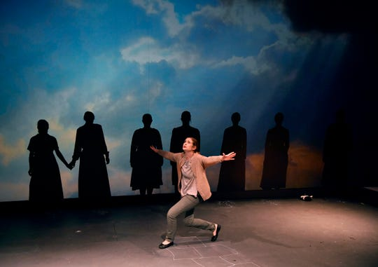 """Bethany Soder performs as Carol Stuckey during a rehearsal for """"The Amish Project"""" at Van Ellis Theatre at Hardin-Simmons University."""