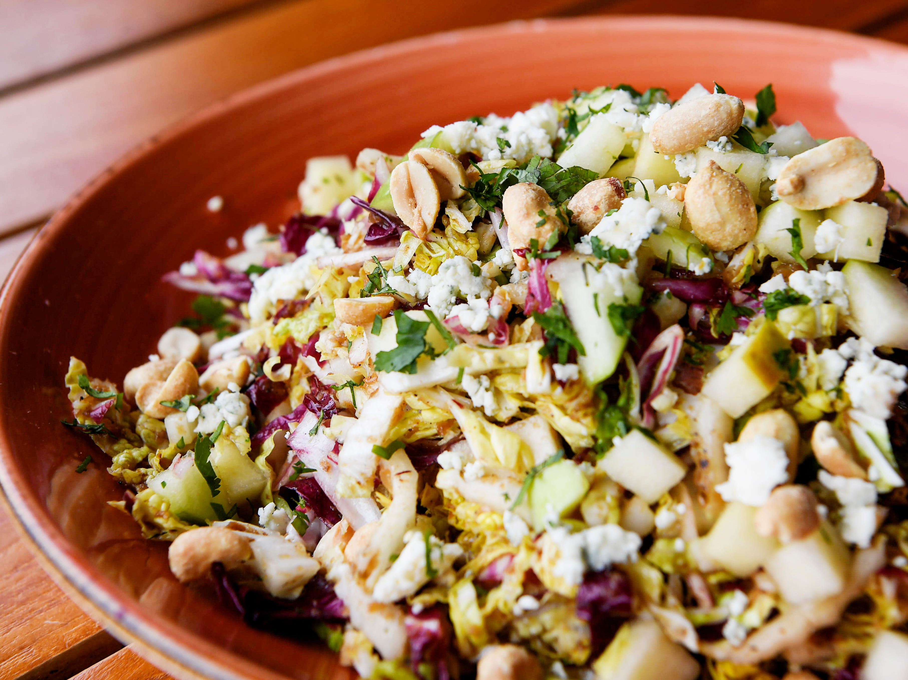 Edison Craft Ales and Kitchen's Napacabbage and apple salad with radicchio, peanuts, smoked blue cheese and charred onion vinaigrette.