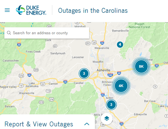 Duke Energy's outage map indicates at least 12,000 customers are still without power as of 1PM Apr. 9.
