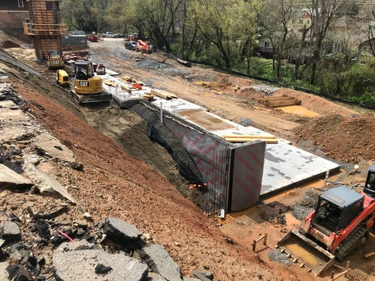The 36-unit apartment complex under construction on Broadway Street in Asheville at the site of the former Bob Lawrence Power Equipment should be finished in September.