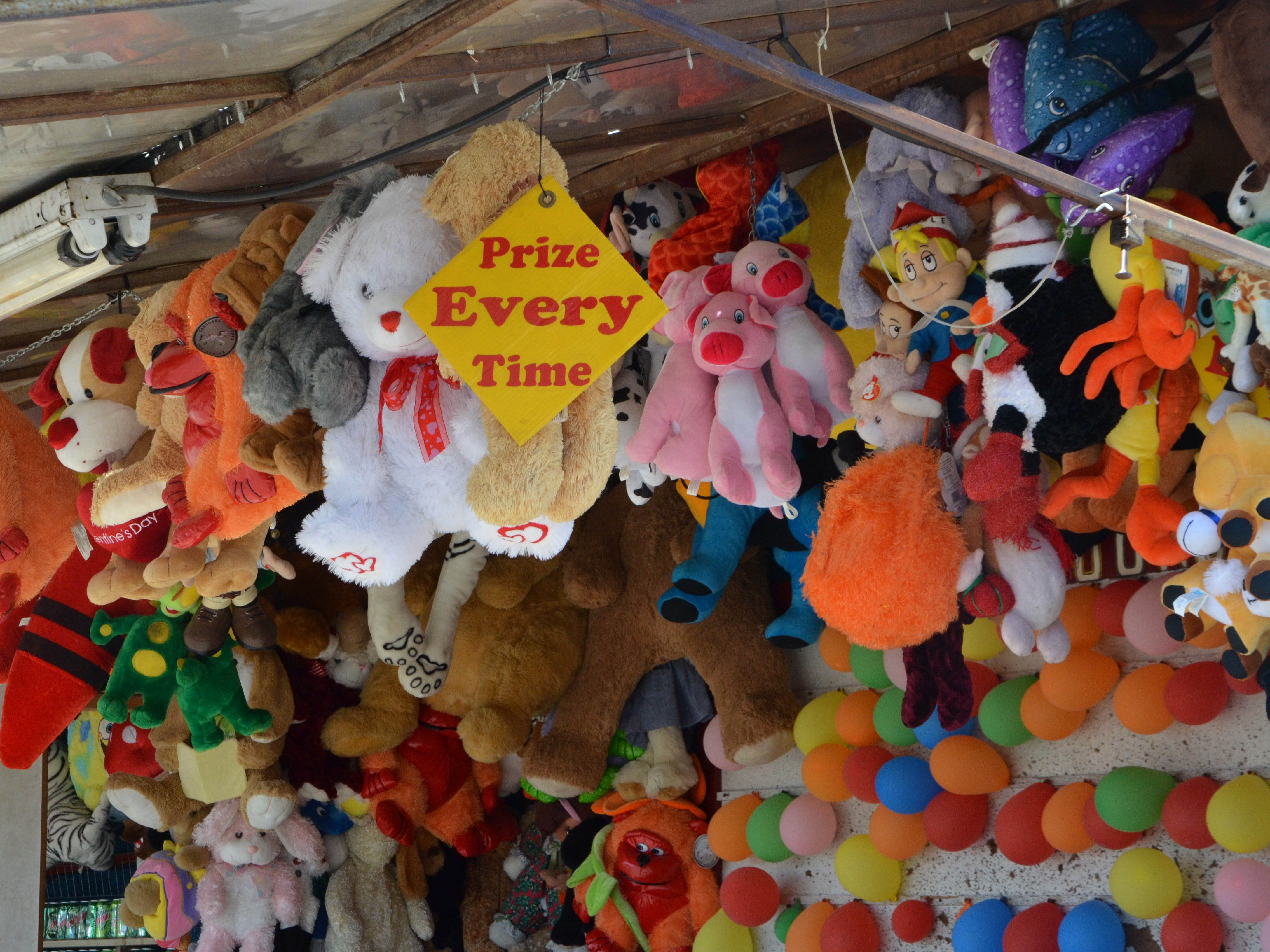 Some of the game prizes at Family Fun Tyme Amusements.