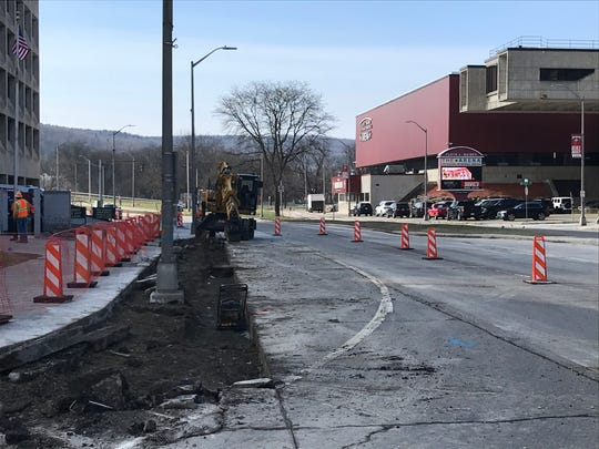 Construction begins along State Street in Binghamton.