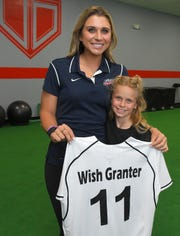 Brookelynn Dolin, 10, even gave Alex Powers an official Kids Wish jersey with her number on it.