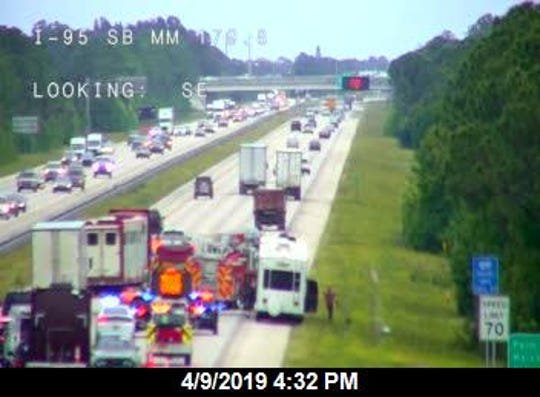 RV fire closes southbound Interstate 95 near U.S. 192.