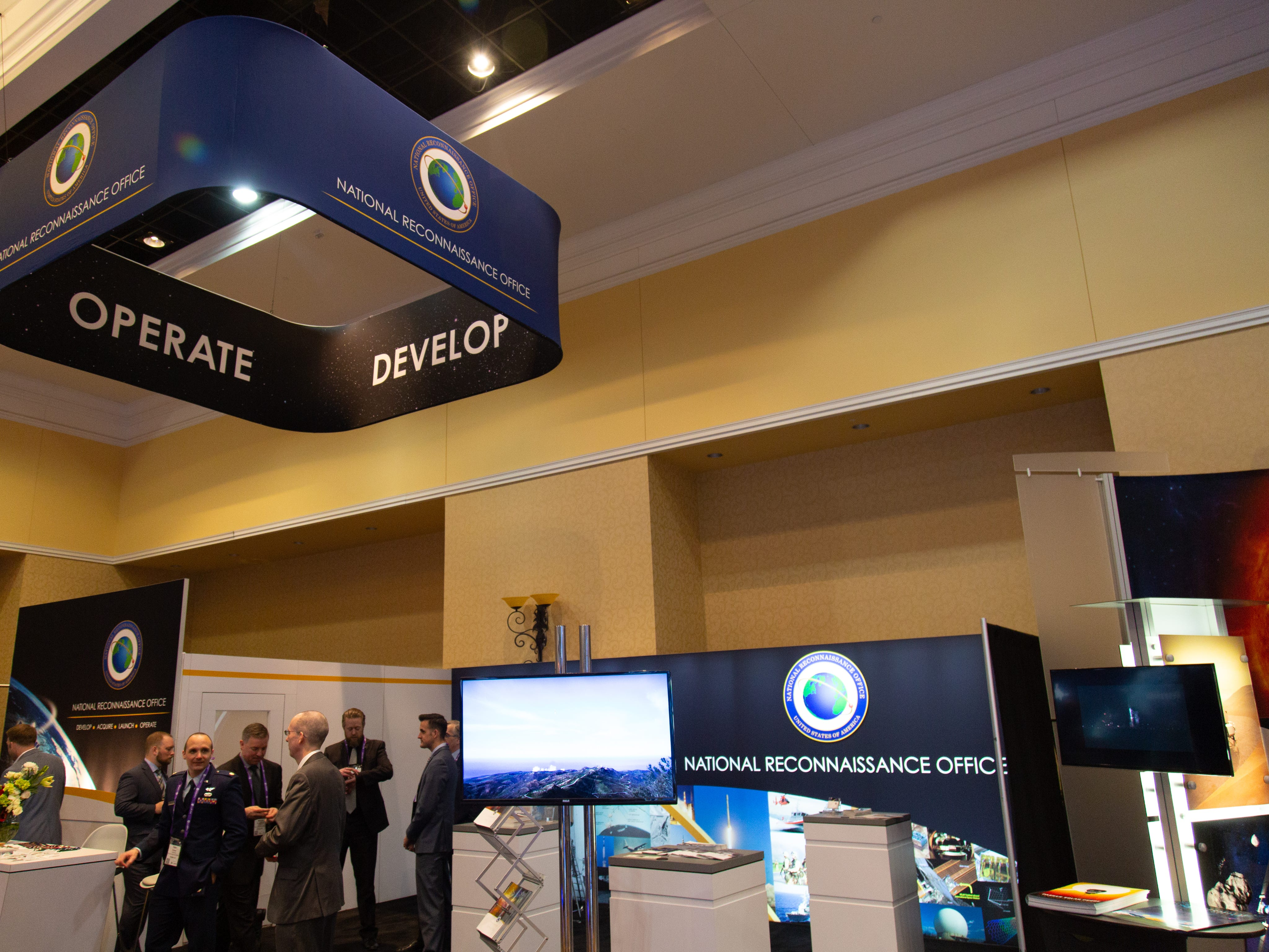 The secretive National Reconnaissance Office's booth at the 35th Space Symposium in Colorado Springs.