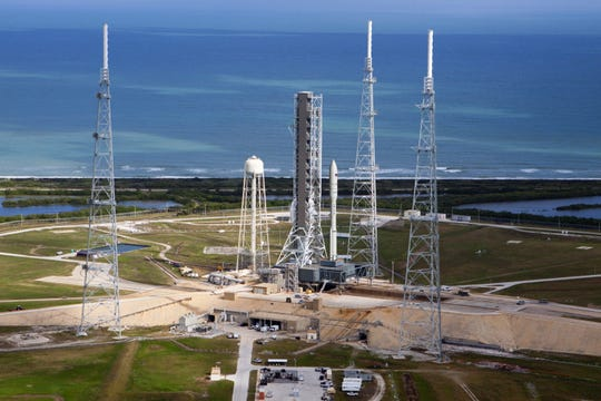 A rendering of Northrop Grumman's Omega rocket at Kennedy Space Center's pad 39B.