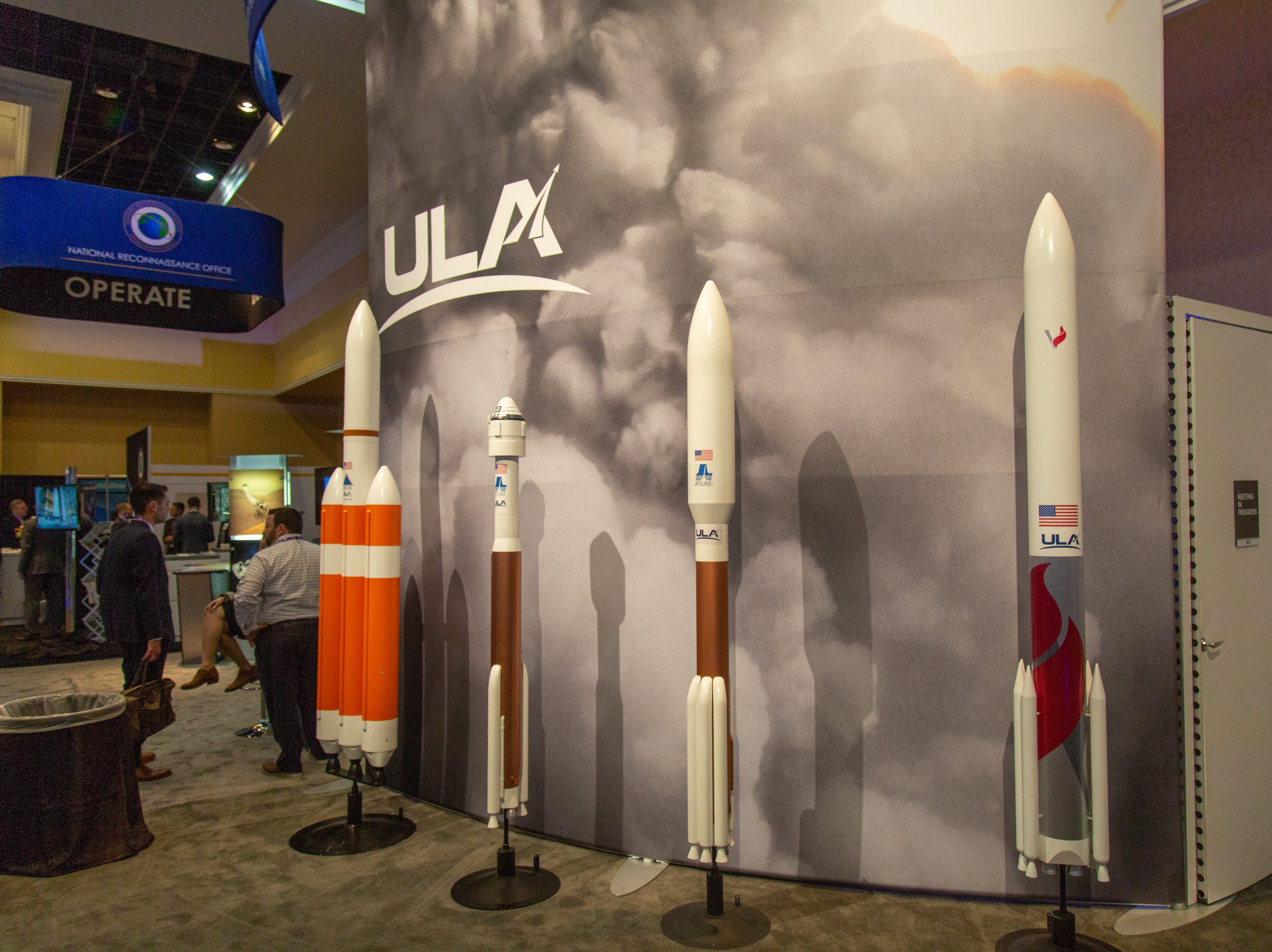 United Launch Alliance's display of Delta, Atlas and Vulcan rockets at the 35th Space Symposium in Colorado Springs held April 8 to 11.