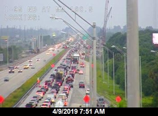 Construction causing major delays on I-95 in Brevard County April 9, 2019.