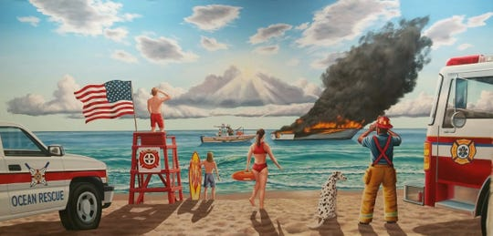 The new Firehouse Subs in Indian Harbour Beach features a beach-themed rescue scene mural.