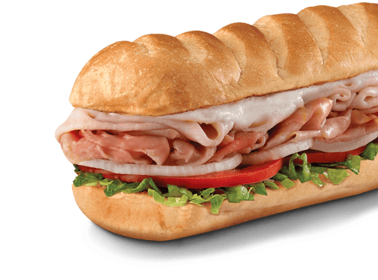 The Hook & Laddersub, with smoked turkey breast and Virginia honey ham smothered with Monterey Jack cheese, is Firehouse's best-selling sub.