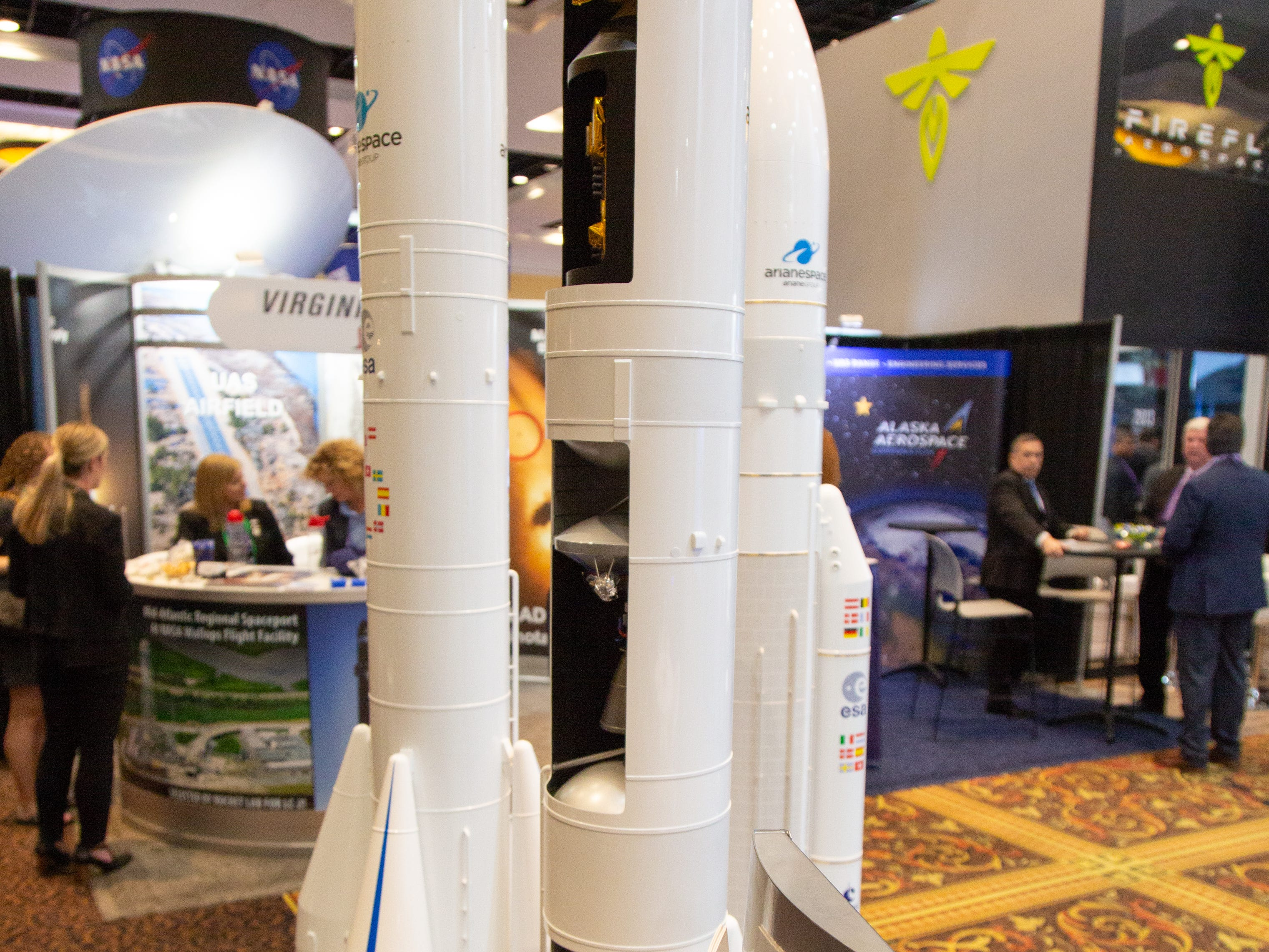 Models of the European Space Agency's Ariane rockets at the 35th Space Symposium in Colorado Springs.