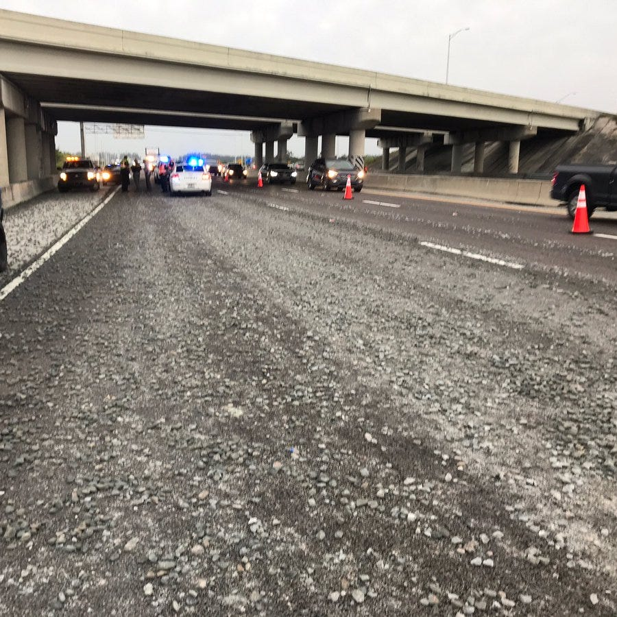 Dump truck loses load of gravel on southbound I-95 near Rockledge