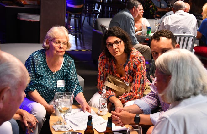 """On Monday FLORIDA TODAY hosted Civility Brevard's first event, a """"Red and Blue Mixer""""  with Space Coast conservatives and liberals meeting to discuss their political views. The event was held at Open MIke's in Melbourne."""