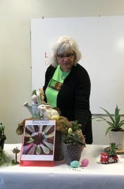 """Licking County master gardenerLori Swihartshared""""succulent"""" information during a break-out session at the annual spring conference in Newark."""
