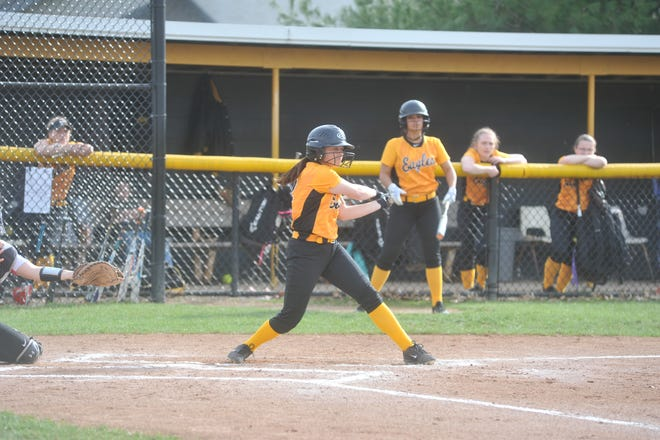 Colonel Crawford's Makenna Treisch swings at a pitch.