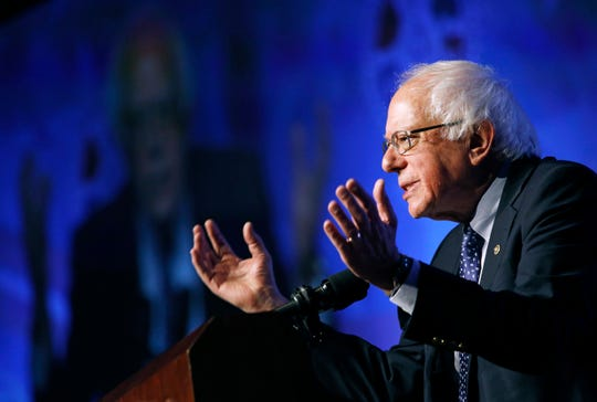 Democratic presidential candidate Sen. Bernie Sanders, I-Vt., speaks at a convention of the International Association of Machinists and Aerospace Workers, Monday, April 8, 2019, in Las Vegas.