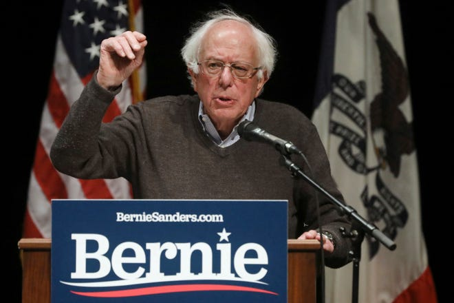 U.S. Sen. Bernie Sanders, I-Vt., speaks during a campaign stop, Saturday, April 6, 2019, at Aldo Leopold Middle School in Burlington, Iowa.
