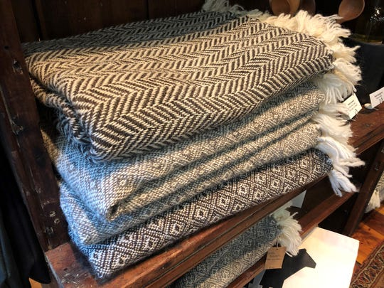 Custom made blankets, seen here on April 8, 2019, at the Philo Ridge Farm in Charlotte, are made from wool sheared from the farm's sheep.