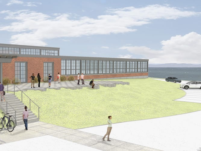 A proposed outdoor terrace at the former Blodgett Ovens factory in Burlington, part of the Hula Lakeside redevelopment of the property by Russ Scully, is seen in this rendering by Owen Smith at SAS Architects.