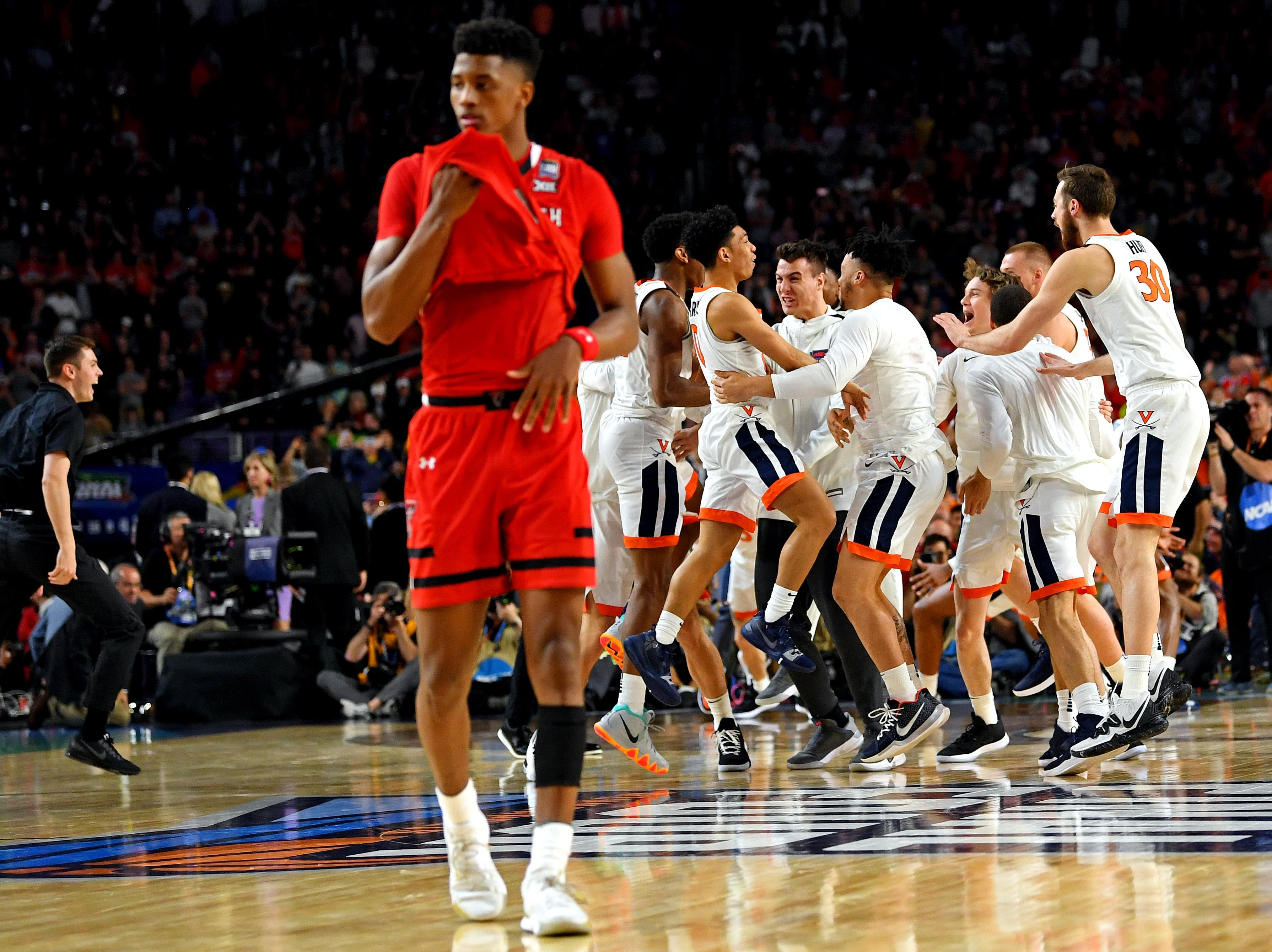 Apr 8, 2019; Minneapolis, MN, USA; The Virginia Cavaliers celebrate beating the Texas Tech Red Raiders in the championship game of the 2019 men's Final Four at US Bank Stadium. Mandatory Credit: Bob Donnan-USA TODAY Sports