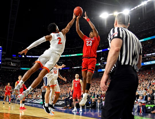 Apr 8, 2019; Minneapolis, MN, USA; Virginia Cavaliers guard Braxton Key (2) blocks the shot by Texas Tech Red Raiders guard Jarrett Culver (23) during the second half  in the championship game of the 2019 men's Final Four at US Bank Stadium. Mandatory Credit: Bob Donnan-USA TODAY Sports