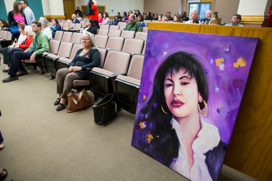 Corpus Christi artist Gilbert Cantu created this painting in honor of the late Tejano singer Selena Quintanilla-Perez, it was gifted by Citgo Petroleum Corp. to the City of Corpus Christi during the city council meeting on Tuesday, April 9, 2019.