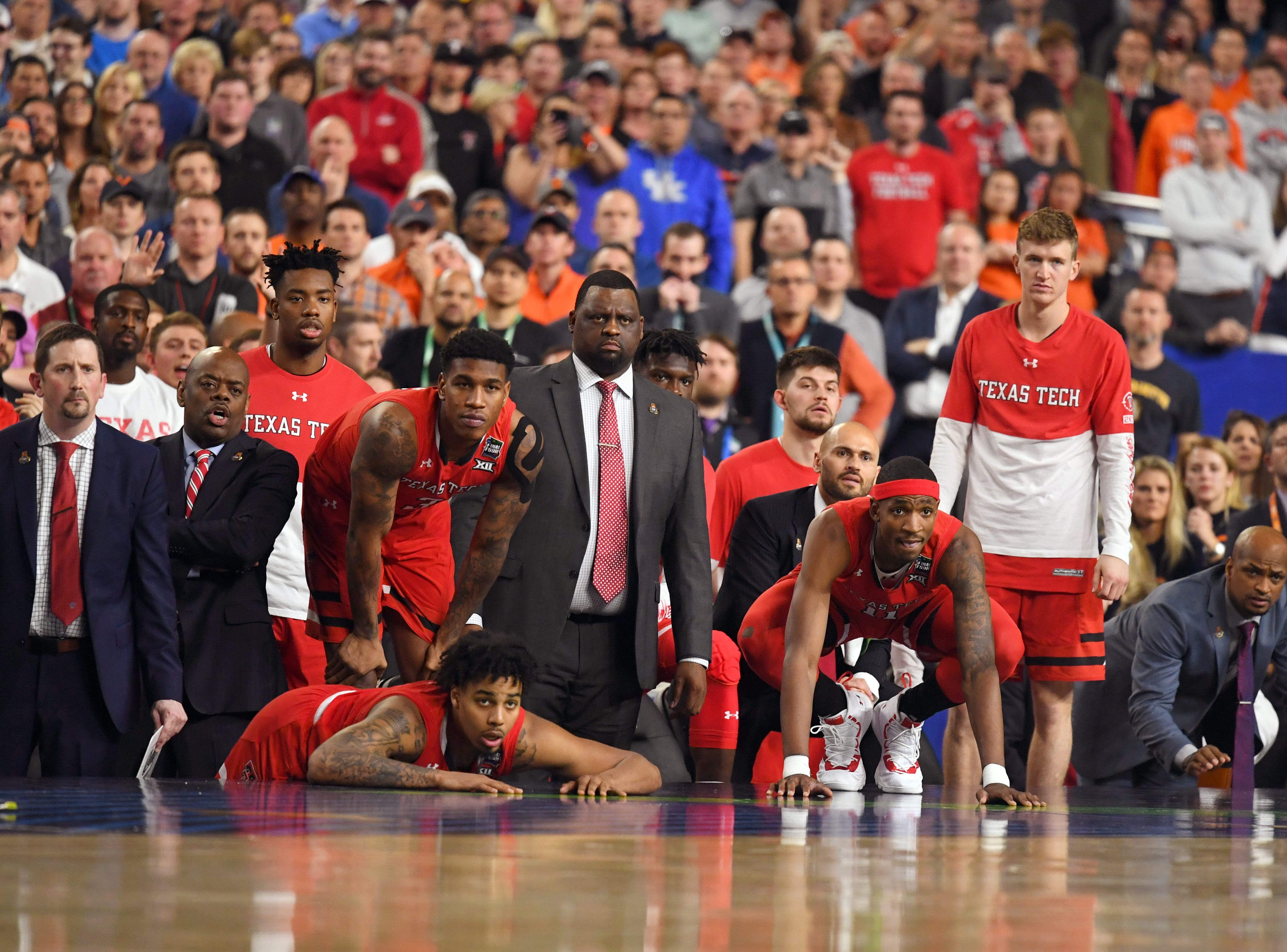 Apr 8, 2019; Minneapolis, MN, USA; Texas Tech Red Raiders bench watching from the sideline Virginia Cavaliers in the championship game of the 2019 men's Final Four at US Bank Stadium. Mandatory Credit: Robert Deutsch-USA TODAY Sports