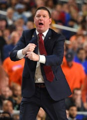Apr 8, 2019; Minneapolis, MN, USA; Texas Tech Red Raiders head coach Chris Beard reacts from the sideline against the Virginia Cavaliers in the championship game of the 2019 men's Final Four at US Bank Stadium. Mandatory Credit: Robert Deutsch-USA TODAY Sports