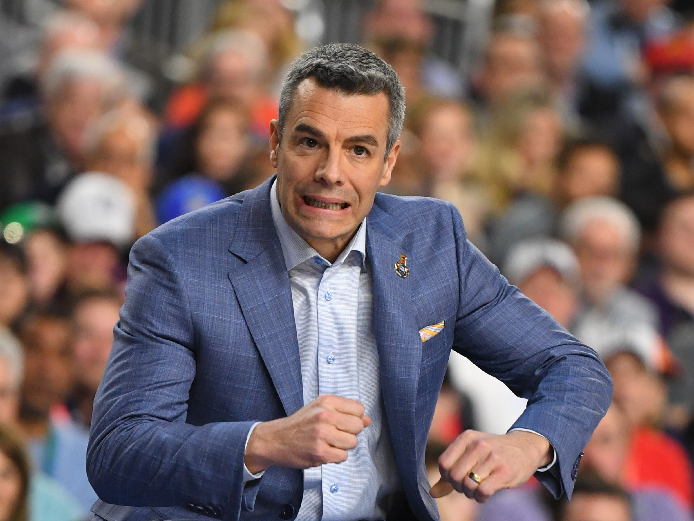 Apr 8, 2019; Minneapolis, MN, USA; Virginia Cavaliers head coach Tony Bennett reacts from the sideline against the Texas Tech Red Raiders in the championship game of the 2019 men's Final Four at US Bank Stadium. Mandatory Credit: Robert Deutsch-USA TODAY Sports