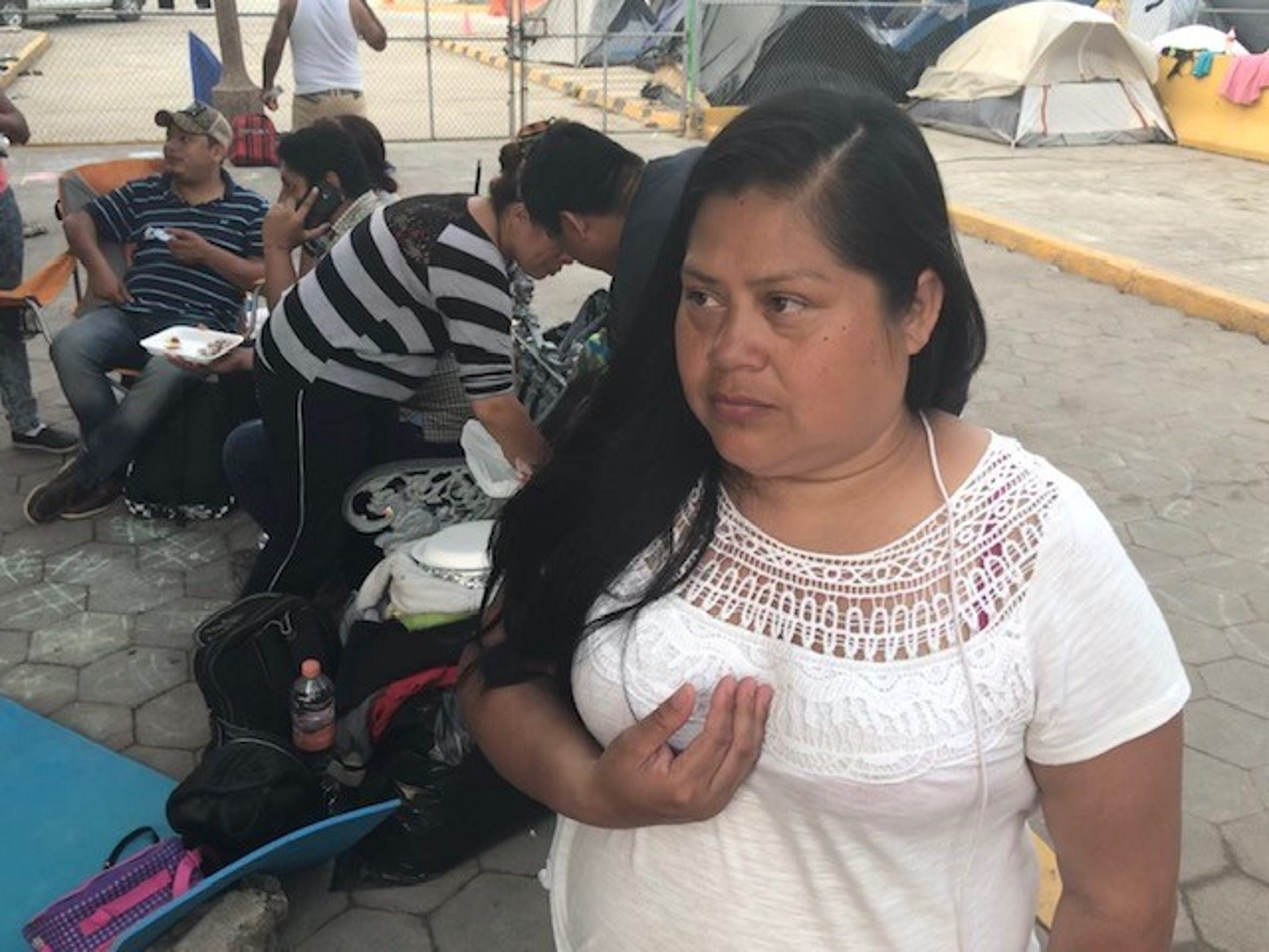 Edith Cruz talks about migrating from Honduras to seek asylum in the United States as she waits in Matamoros, Mexico, on April 4, 2018.