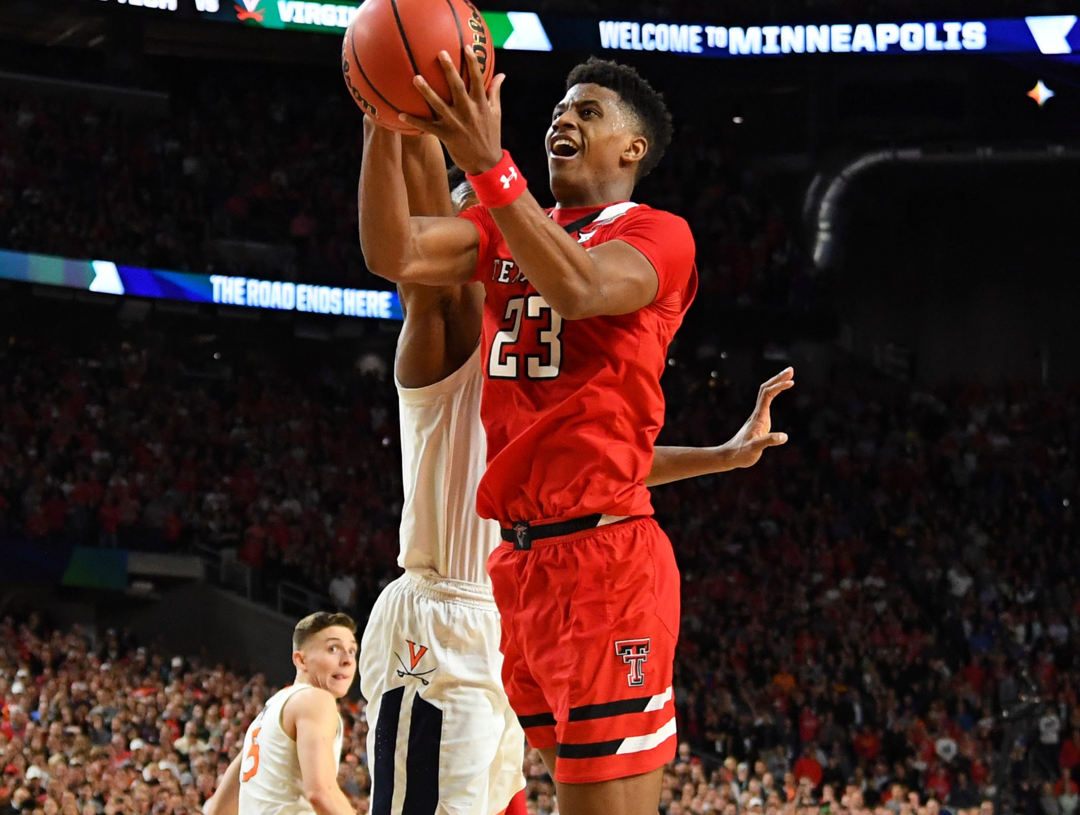 Apr 8, 2019; Minneapolis, MN, USA; Texas Tech Red Raiders guard Jarrett Culver (23) shoots the ball against Virginia Cavaliers guard De'Andre Hunter (12) during the second half in the championship game of the 2019 men's Final Four at US Bank Stadium. Mandatory Credit: Bob Donnan-USA TODAY Sports