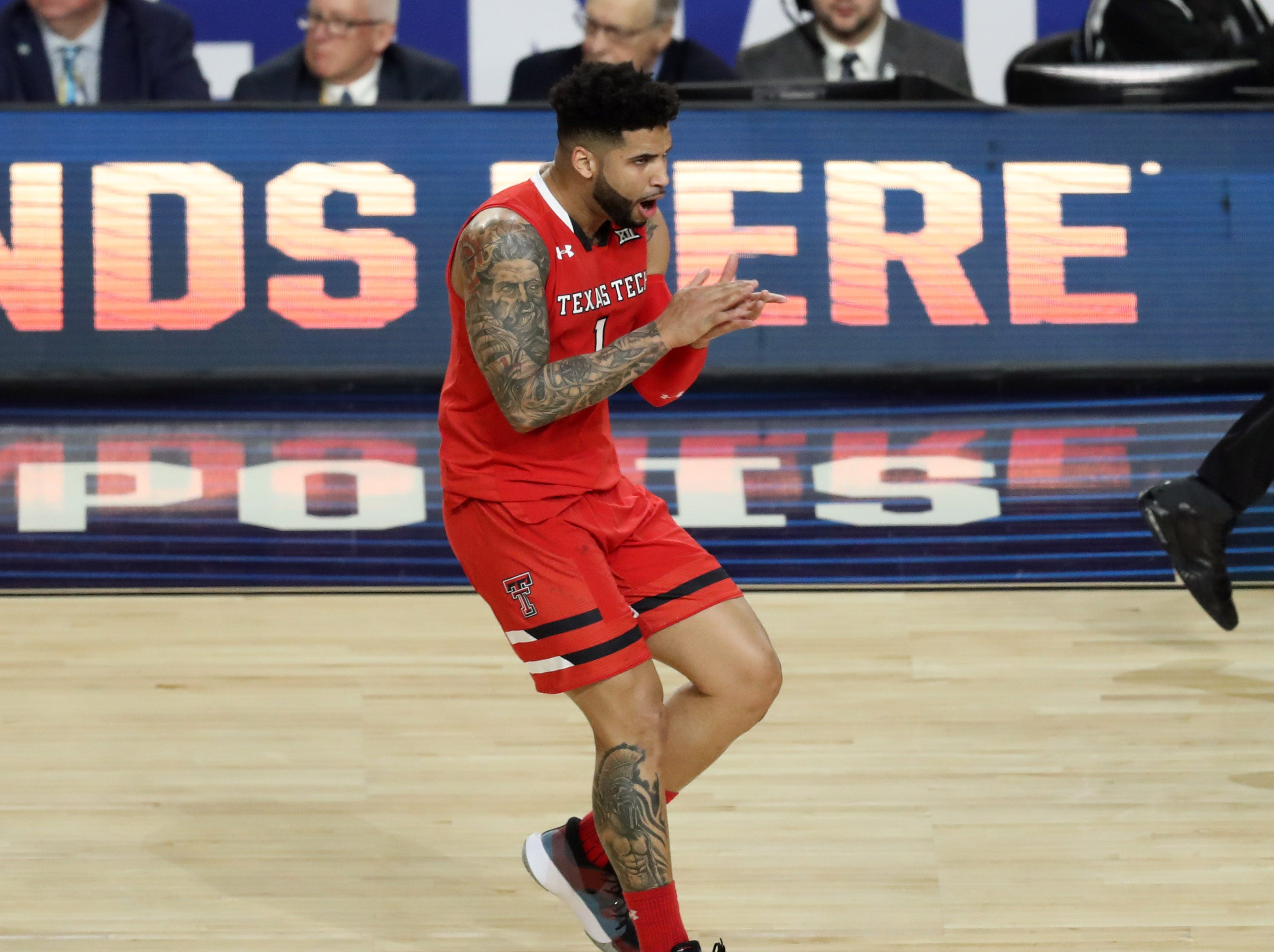 Apr 8, 2019; Minneapolis, MN, USA; Texas Tech Red Raiders guard Brandone Francis (1) celebrates after scoring during the first half against the Virginia Cavaliers in the championship game of the 2019 men's Final Four at US Bank Stadium. Mandatory Credit: Brace Hemmelgarn-USA TODAY Sports