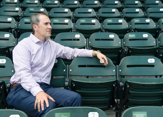 Wes Weigle sits in the stands at Whataburger Field, Friday, March 29, 2019. Weigle was named General Manager of the Corpus Christi Hooks in December 2017.