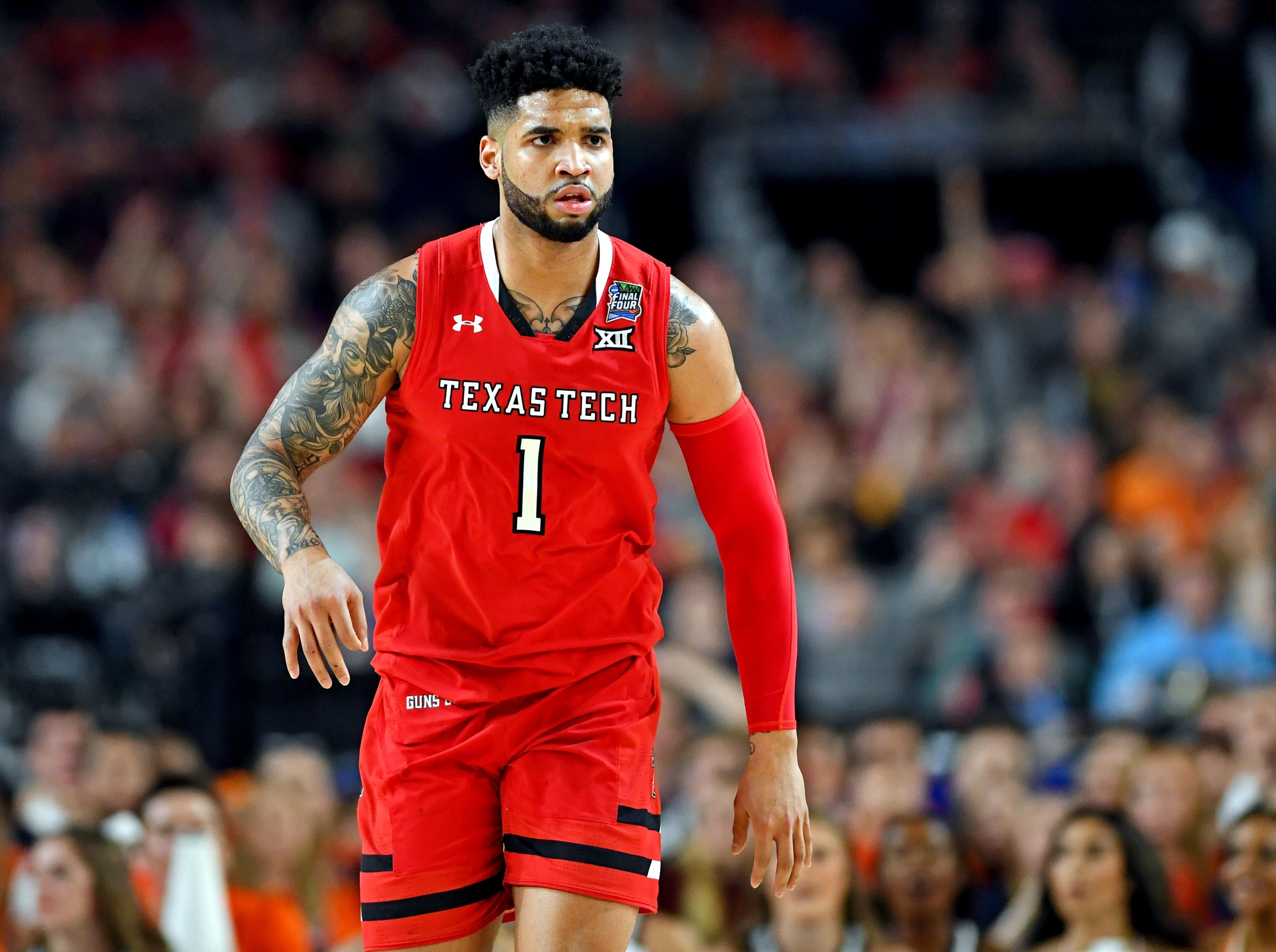 Apr 8, 2019; Minneapolis, MN, USA; Texas Tech Red Raiders guard Brandone Francis (1) reacts after a play during the first half against the Virginia Cavaliers in the championship game of the 2019 men's Final Four at US Bank Stadium. Mandatory Credit: Bob Donnan-USA TODAY Sports