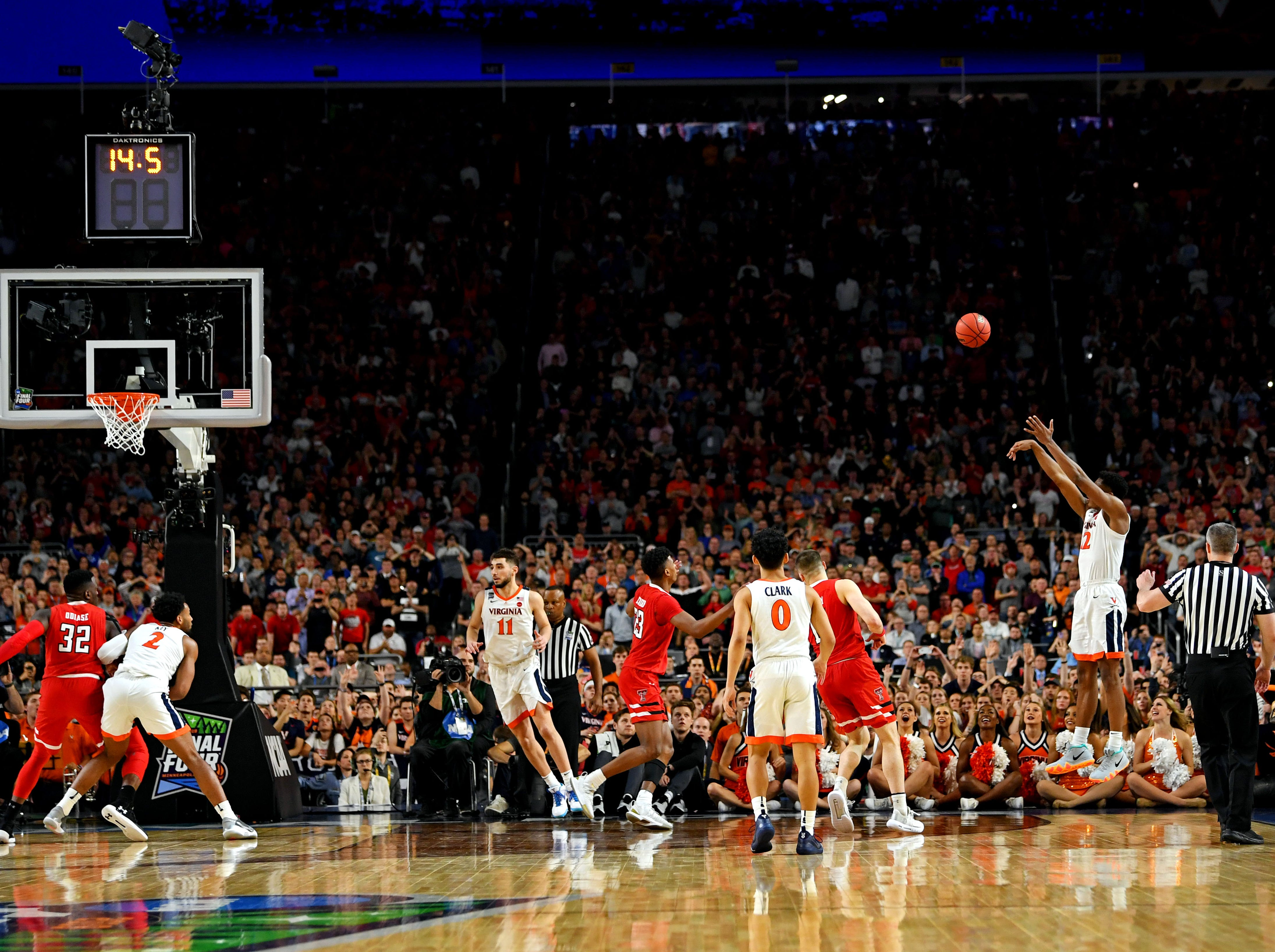Apr 8, 2019; Minneapolis, MN, USA; Virginia Cavaliers guard De'Andre Hunter (12) shoots the ball during the second half against the Texas Tech Red Raiders in the championship game of the 2019 men's Final Four at US Bank Stadium. Mandatory Credit: Bob Donnan-USA TODAY Sports