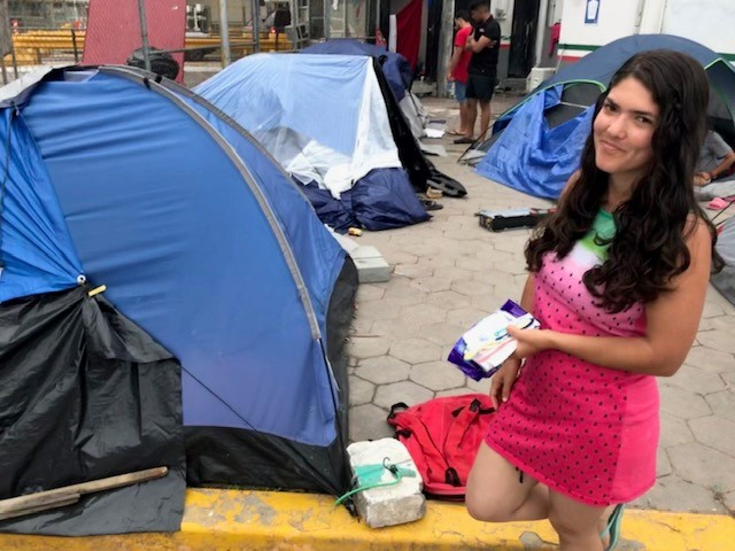 Sol Herrera migrated from Venezuela to seek asylum in the United States. She is at the tent she calls home near the International Gateway Bridge in Matamoros, Mexico, on April 5, 2019.