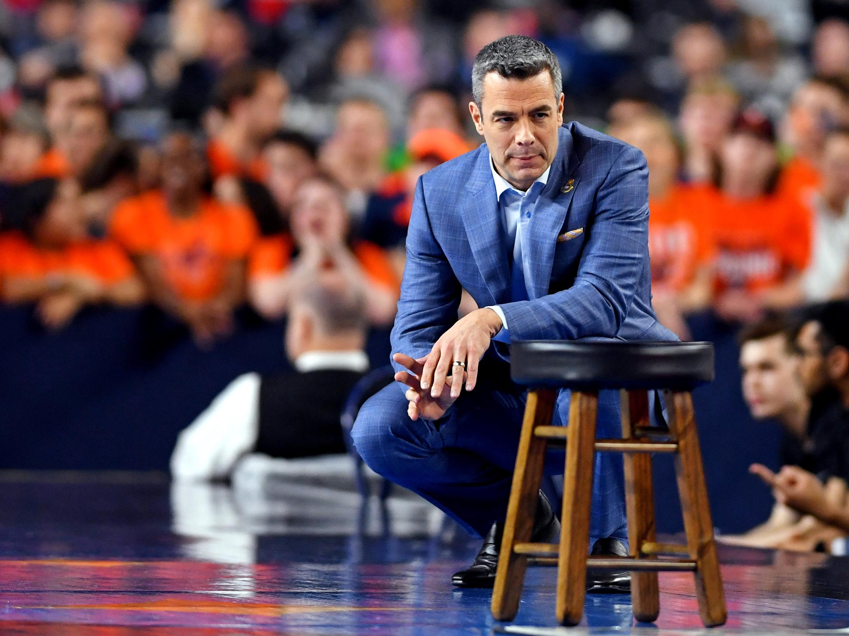 Apr 8, 2019; Minneapolis, MN, USA; Virginia Cavaliers head coach Tony Bennett during the first half against the Texas Tech Red Raiders in the championship game of the 2019 men's Final Four at US Bank Stadium. Mandatory Credit: Bob Donnan-USA TODAY Sports